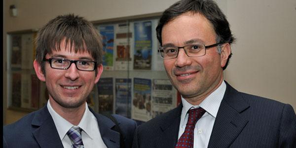 Armando Brunini, Managing Director of Aeroporto di Bologna (right), pictured with FTE's Ross Falconer (left).