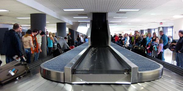 A baggage claim carousel
