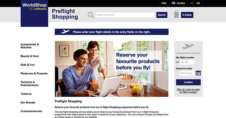 Lufthansa passengers offered pre-flight shopping and free e-journal downloads