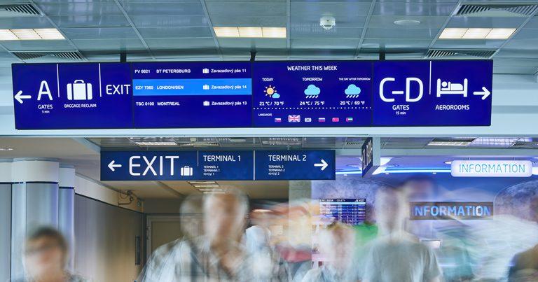 Prague Airport trials digital signage system in six languages