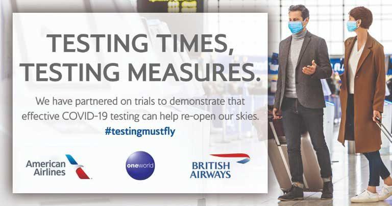 American, BA and oneworld launch transatlantic COVID-19 testing trial